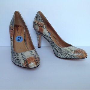 Corso Como Snake Print Leather Heels 7.5M New!